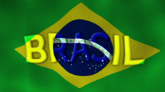 Brasil Flag and Text, Textile Background Stock Footage