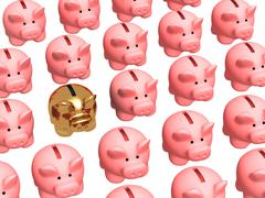 Stock Illustration of Gold pig coin box, worth in a rows of usual coin boxes
