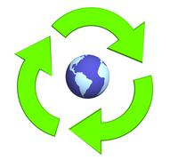 Ecological symbol -  Earth surrounded with green pointers - stock illustration