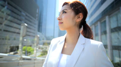 Asian Japanese Female Outdoors Business Successful Financial Career Stock Footage