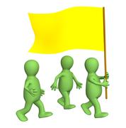 Stock Illustration of Group of the puppets, going with a yellow flag