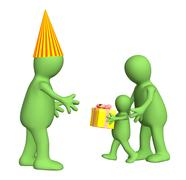 3d child,  congratulating the daddy with a holiday Stock Illustration