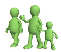 Family on walk - mum,  daddy and  child - stock illustration
