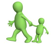Puppet - adult, pulling for a hand of the small child - stock illustration