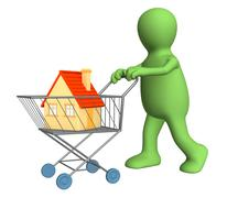 Stock Illustration of 3d puppet - buyer, bought the house