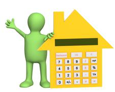 Stock Illustration of 3d puppet with calculator in form of house