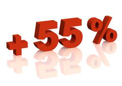 Red 3d inscription - plus of fifty five percent Stock Illustration