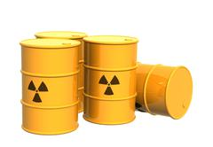 Four yellow tanks with a radioactive symbol - stock illustration