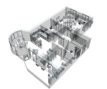 3d sketch of a four-room apartment - stock illustration