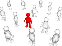 The concept - loneliness among crowd - stock illustration