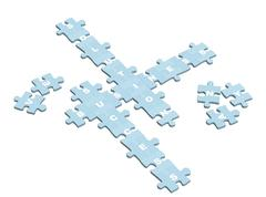 Business crossword from slices of a puzzle - stock illustration