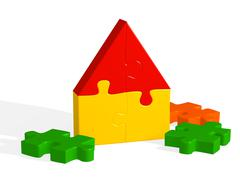 Stock Illustration of House from a bright 3d puzzle