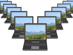 Lot of identical new laptops - stock illustration