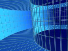 3d blue abstract tunnel from a grid Stock Illustration