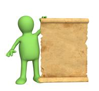 Puppet with the ancient manuscript - stock illustration