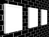 Stock Illustration of 3d picture gallery on a brick wall