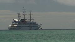 A cruiseship lying at anchor at sea. A large ship sails past. - stock footage
