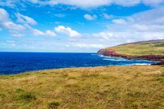 easter island coastal landscape - stock photo