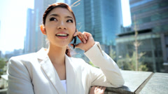 Young Ethnic Asian Japanese Businesswoman City Downtown Smart Phone Device - stock footage