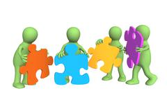 Four puppets, holding in hands a puzzle - stock illustration
