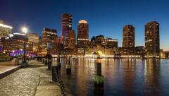 Stock Video Footage of 4K Night timelapse of Boston skyline - Massachusetts - USA