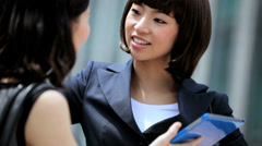 American Asian Japanese Girls Business Financial Executive Tablet Device Stock Footage