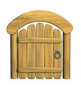 Closed ancient wooden door Stock Illustration