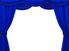 Theatrical curtain of blue color - stock illustration