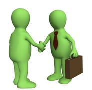 Stock Illustration of Shake hand of two 3d stylized people