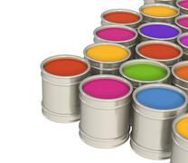 Multi-coloured paints - stock illustration