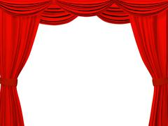 Theatrical curtain of red color - stock illustration