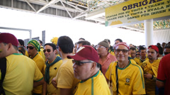 Brazilian fan goes to the first game of the Brazilian World Cup 2014 Stock Footage