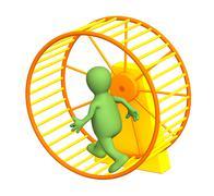 3d puppet, running inside a wheel - stock illustration