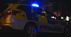 British Police car arrives at emergency 4K Stock Footage