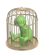 3d puppet, worth in a gold cage Stock Illustration