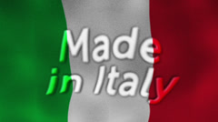 Made in Italy Flag and Text, Textile Background Stock Footage