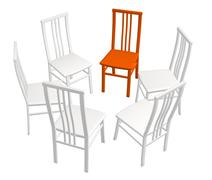 One red chair in a row of white chairs - stock illustration