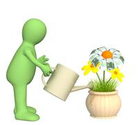 3d puppet, watering monetary flower - stock illustration