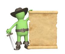 Pirate with ancient manuscript - stock illustration