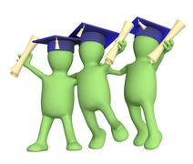 Happy friends schoolfellows with diplomas - stock illustration