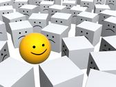 Stock Illustration of Bright sphere with smile in row of grey boxes
