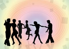 Stock Illustration of Background with silhouettes of the young people dancing in a dis