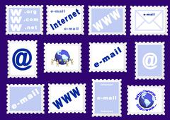 Set of stamps about the Internet symbols Stock Illustration