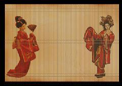 Background - an ancient volumetric Japanese reed mat - stock illustration