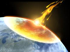 Collision of an asteroid with the Earth - stock illustration