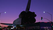 Stock Video Footage of Shuttle Endeavor meets airline during early morning sunrise HD