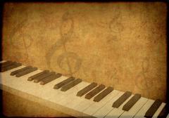 Grunge background with musical symbols - stock illustration