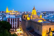 Stock Photo of seville cathedral at dusk spain