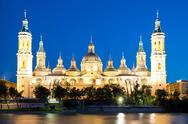 Stock Photo of zaragoza basilica cathedral at dusk