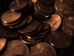 Pennies Macro - stock photo